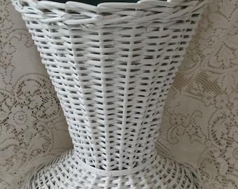 wicker umbrella stand planter white wicker metal center cottage victorian shabby feminine