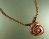 Bold Copper Necklace, Copper and Brass Chain, Spiral Copper Pendant, Copper Clasp, 21.5 inches