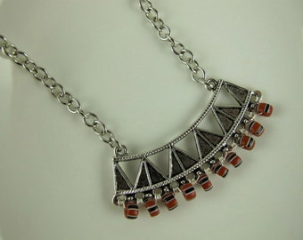 Necklace  Red, White and Blue Chevron Trade Beads on a Silver Plated Crescent of Triangles, Silver Plated Chain and Lobster Clasp