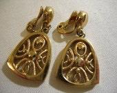 Vintage MONET Gold Tone Ear Clips with Pendant Drops