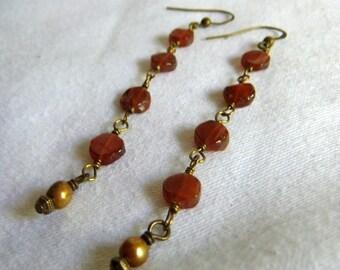 Garnet and Pearl Earrings - Rust Hessonite Garnet, Mustard Yellow Freshwater Pearl, Brass, Rosary,  Long, Dangle, Earthy, Handmade