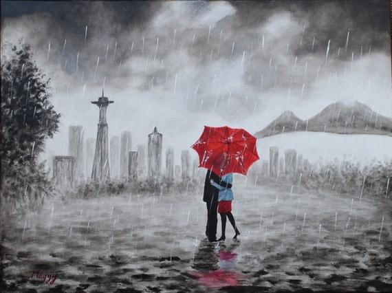 Original Paintingseattle Kissing In Rain Black White