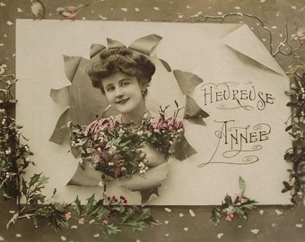 Antique French Postcard - Heureuse Année (Happy New Year)