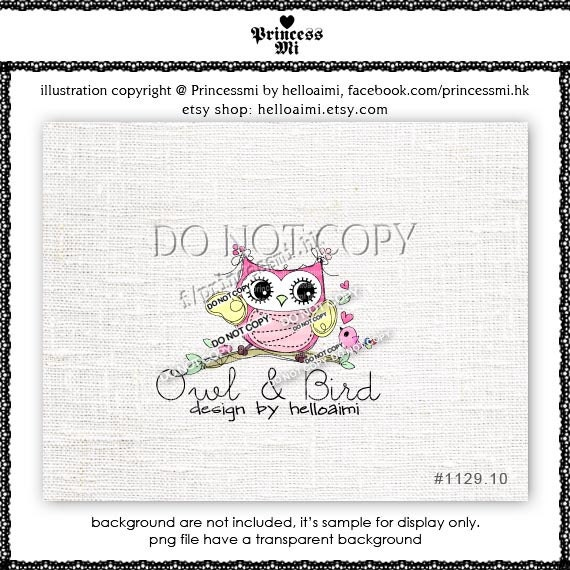 Custom Premade Logo Design - Lovely Bird Owl illustration by princess mi photography business logo1129-10