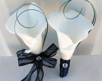 Wedding corsage boutonniere set white real touch calla lily