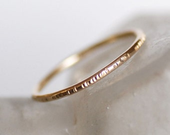Thin 18k Gold Ring, Choose Hammered, Textured or Smooth - Thin Gold Wedding Band - Eco-friendly Recycled Gold