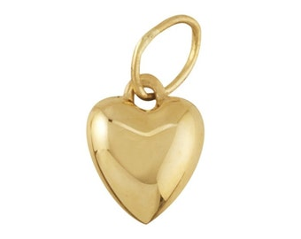 14K Yellow Gold Puffed Heart Pendant, 2 sizes to choose from