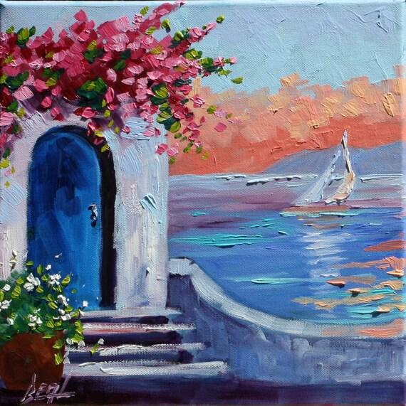 Greece sunrise original scenic art oil painting landscape art for Oil painting scenery