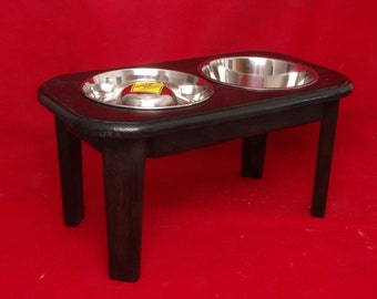 Elevated Large Dog Feeder Bowl, 12 Inch, 4 Cup Slow Feed & Three Quart Bowls, Solid Oak, FREE NAME and STAIN