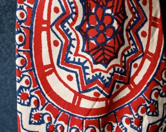 Czech Tie 40's/50's  Men's Paisly Red Blue Ivory White Screen Printed Silk Atomic Age