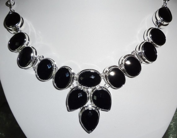 CLEARANCE Black Onyx gemstone, Solid Sterling Silver Necklace with Barrow Clasp