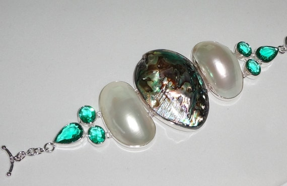 """CLEARANCE, Abalone Shell, White Shell, green amethyst, SOLID sterling silver Bracelet 8"""" adjustable"""