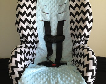 MINKY & CHEVRON black and white zigzag toddler Car Seat Cover