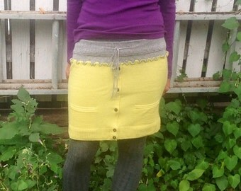 Skirt Upcycled lemon lime cashmere sweater