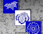 1 Inch Squares Digital Art:  Indigo Blue and White Antique Asian Motifs Ornamental Designs Digital Collage Sheet CS 132
