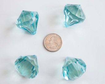Aqua Diamond Pendant 30x35mm Chunky Necklace Beads 4 ct