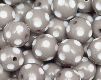 Grey Polka Dot 20mm Chunky Beads 10 ct for Bubblegum Necklace - 20mm Beads