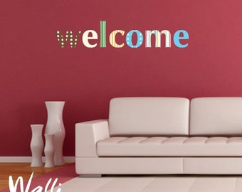 Welcome  in retro style wall lettering decal