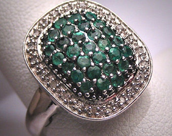 Vintage Emerald Diamond Ring Estate Art Deco Wedding