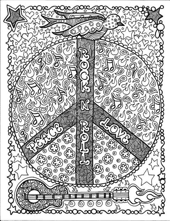 Instant download rock and roll peace coloring page art for Rock and roll coloring pages