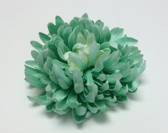 Silk Flowers - One Jumbo AQUA Mum on a CLIP - 5.5 Inches - Artificial Flowers