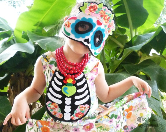 Day Of The Dead Costume Pattern DIY Easy Felt Skull Mask and Chest Plate Skeleton Outfit Children and Adults Halloween SALE - was 8