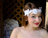 Daisy - Great Gatsby - Inspired White Wedding Tie Lace Headband With Faux Pearls