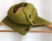 Cowl in Olive Green Aran Wool