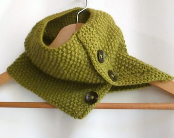 Cowl in Olive Green Aran Wool