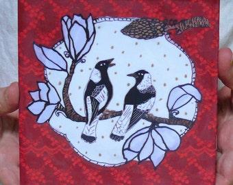Magpies and Magnolia, 6x6 ceramic tile