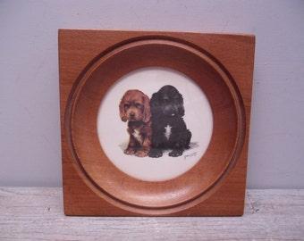vintage framed dog print / spaniel puppies