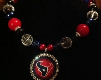 Houston Texans Round Pendant on beads