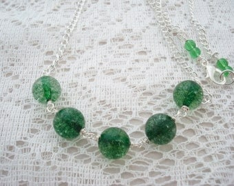Green Beaded Necklace, Quartz Necklace, Simple Necklace, Green Statement Necklace, Emerald Necklace, Beaded Necklace, Quartz Jewelry