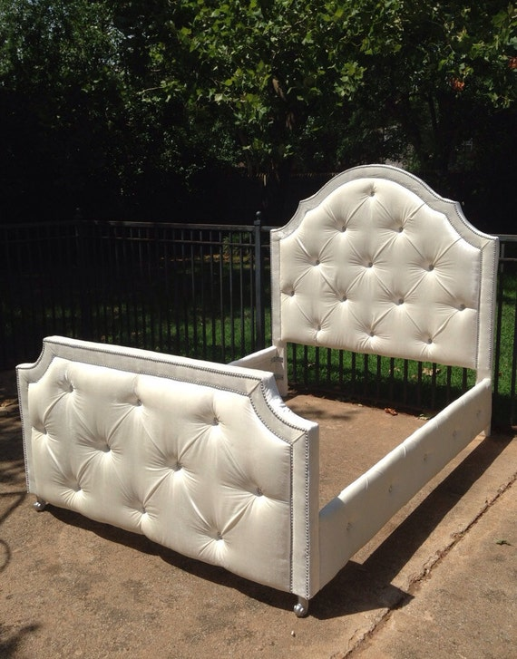Queen Upholstered Bed By Custom Order Rhinestones Nailheads