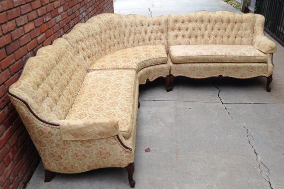 Deep Sectional Sofas Rare French Provincial Sectional Sofa Tufted by ...