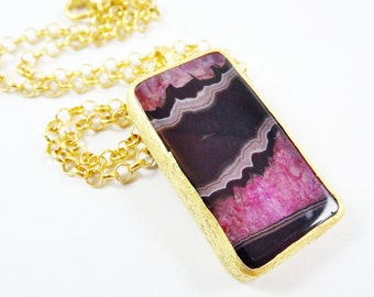 Violet Red Black Agate Gemstone Necklace - Choose From 18'' 24'' or 30'' inch Chain