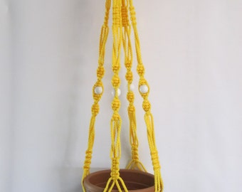 MACRAME Plant Hanger Vintage Style 40 inch Sunshine YELLOW 6mm with white BEADS