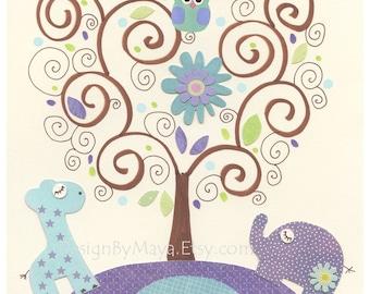 Baby girl Room Decor, Nursery art print, nursery tree, baby girl tree, match Brooklyn, kids room art, purple, lavender, aqua, light blue
