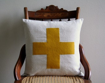 """swiss cross throw pillow cover in mustard yellow, saffron, lodge decor, gifts under 50, 16"""" x 16"""", farmhouse cabin style rustic, fall decor"""