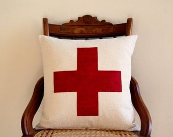 "red swiss cross throw pillow cover, 16"" x 16"", natural farmhouse cabin style, rustic, dorm home fall decor"