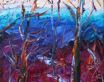 "Mountain Painting, Autumn Winter Landscape Portrait,, Original Oil Painting, Blue Mountains, Mini Painting, 5""x5"", 1 1/2"" Canvas, Gift Item."