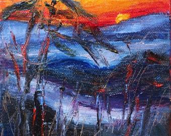 "Mountain Scene,  Mountain Sun Set,  Autumn, Winter Landscape,  Blue Ridge Mountains, Original Oil Painting,  5""x5"", 1 1/2"" Canvas, Gift Item"