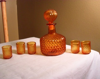 Yellow Glass Decanter and Glass Set