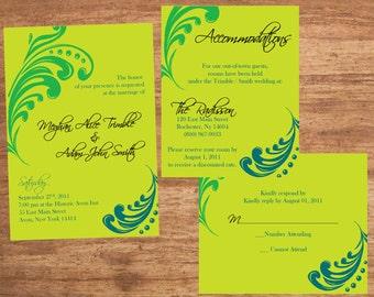 Wedding Invitation Set Digital Files Feather