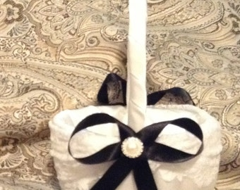 wedding flower girl basket ivory or white color custom made lace with black ribbon