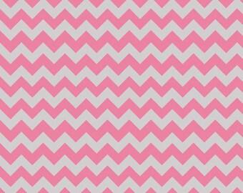 Riley Blake Fabric - 1 Yard of Small Chevron in Hot Pink/Gray