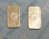 Pure Sterling Silver Charms -  Ingot - Ace One Gram Tiny Rectangles For Jewelry Making - To Mount - Precious Metal