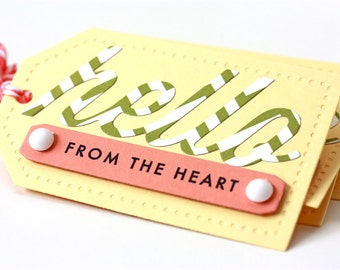 Hello From the Heart - Handmade Gift Tags - Set of 5 - Birthday - Anniversary - Packaging - Gift Wrap - Party Favor - Best Friends