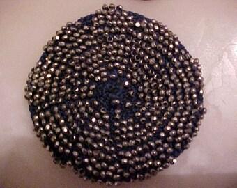 RARE Antique Edwardian Victorian Marcasite Hand Made Applique Embellishment Crochet