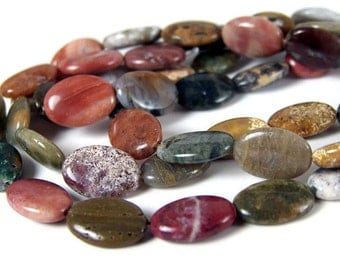 Ocean Jasper beads, natural colorful gemstone, 14mm x 10mm flat oval bead, full & half strands available  (269S)